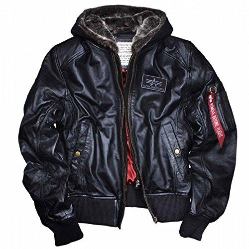 New Alpha Industries MA-1d-tec portafoglio in vera pelle nappa di agnello nero con cappuccio staccabile teddy-lined antivento Bomber pilota motociclista giacca fodera in raso rosso originale m l XL XXL 3x L 4X L 5X L Black Medium