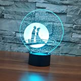3D Night Light,Lampada Da Notte 3D Visual Acpia Magpie Bridge Lampada Da Illusione 3D 7 Colori Cambio Usb Led Lampada Da Tavolo Lampada Cinese Per San Valentino