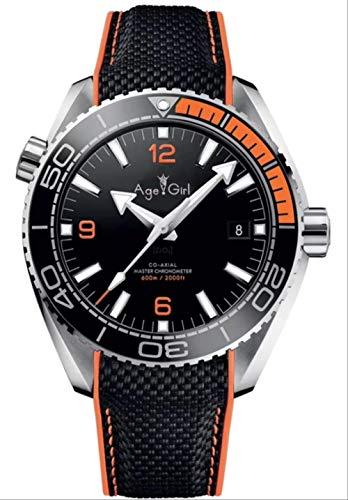 DMZZYGJR Luxury Men Automatico Meccanico Arancione Nero Tela Cerata Pelle Blu Acciaio Inossidabile James Bond 007 Zaffiro Orologio Arancione Nero