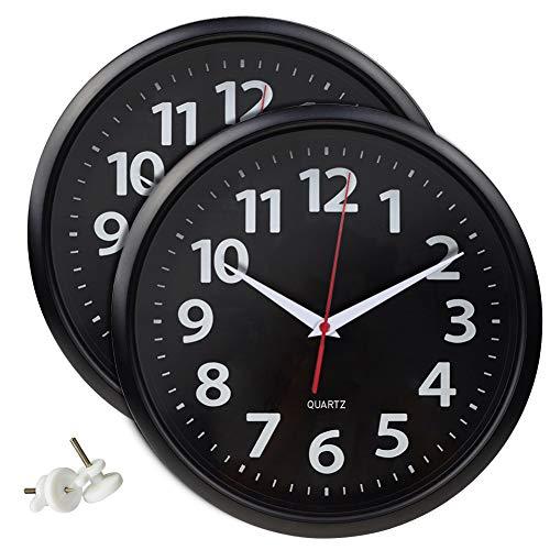 Umi. Essentials Orologio da Parete, Silenzioso, Nero, Confezione da 2