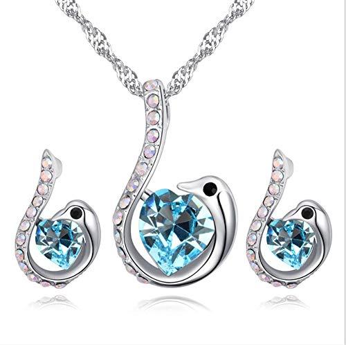 youjiu Swan Anhänger Ohrringe mit Kristallen
