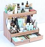 hyl Grande scatola di immagazzinaggio da tavolo in legno Scatola di finitura cosmetica Scaffali in scaffali Mensola grande ( Colore : Logs , dimensioni : A layer of cabinet )