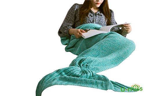 U-MISS Lana Sirena Coperta a Coda a Forma di Sirena, Utilizzabile Come Coperta per Divano Letto,...