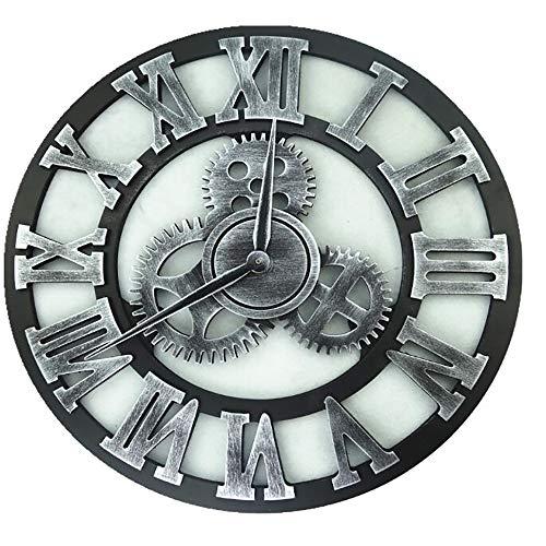 Orologio Vintage, Fatto A Mano retrò Europeo, Orologio da Parete Vintage in Legno con Ingranaggi Decorativi 3D, Nessun Suono, Perfetto per Salotto, Cucina, Bar, Soppalco,Style3,80cm