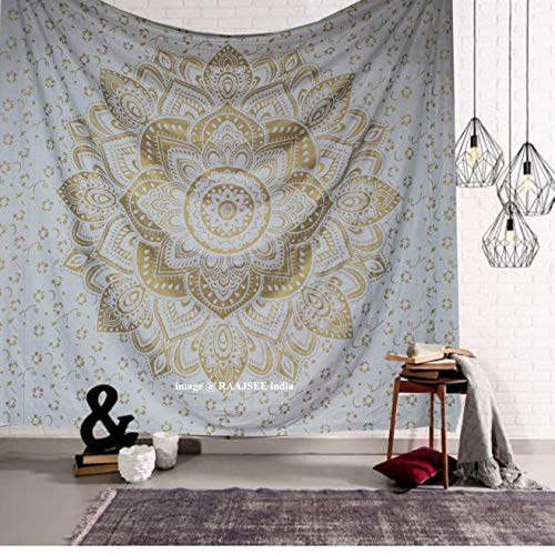 'Golden Ombre Tapestry by Raajsee', biancheria da letto Ombre, arazzi Mandala, Queen, Wall Art...