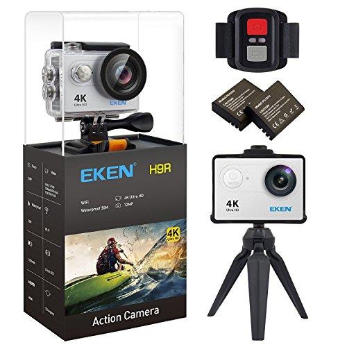 EKEN H9R 4K Action Camera Wifi Impermeabile Camera sportiva con Video 4K 2.7K 1080P 60 720P 120fps 12MP Foto e 170 lenti grandangolari include 10 kit di montaggio telecomando 2.4G 2 Batterie (Silver)