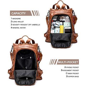 Paradox Girl's Water Resistant Vegan Leather Anti-Theft School Shoulder Backpack Bag (Black) 4