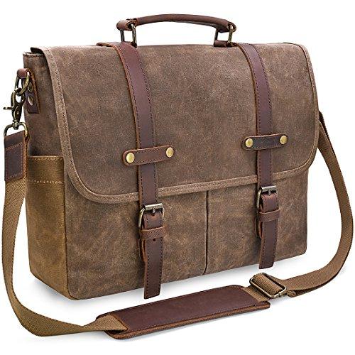 66bd255e3f4f Newhey Mens Laptop Shoulder Canvas Messenger Bag Waterproof Computer Briefcase  Notebook Vintage Satchel Designer School Work Bags Brown 15.6 Leather