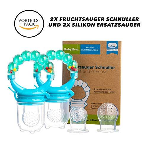 Baby Fruchtsauger Schnuller für Obst und Gemüse - Aus Premium Silikon zu 100{8a3c6b0cbbeac32443918159c24067871c3a03cae77889901f67fa56013efaf8} BPA-frei - Fruchtschnuller Set (Blau)