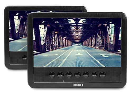 Nikkei NPD720MT 2 Stück tragbarer DVD Player - hochauflösendes 7 Zoll LCD Display für Auto und Unterwegs - Lange Akku Laufzeit - inklusive Fernbedienung, KFZ-Halterung, Kopfhörer und 12V Adapter