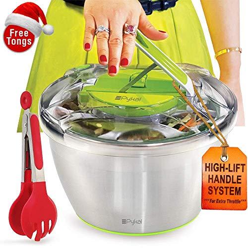 Pykal Essoreuse à salades en INOX Grande modèle - Séchoir a laitue avec Pince de Service GRATUITES, sèche Rapidement, Base antidérapante & Levier à poignée-Poussoir