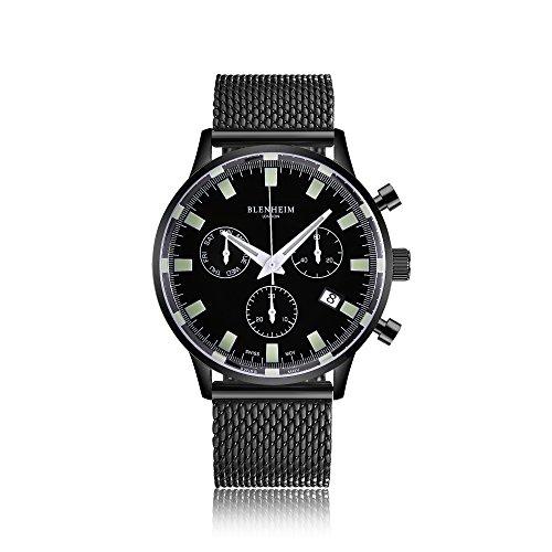 Blenheim London Chronomaster nero, orologio con quadrante con cassa nera metallizzata e cinturino in...