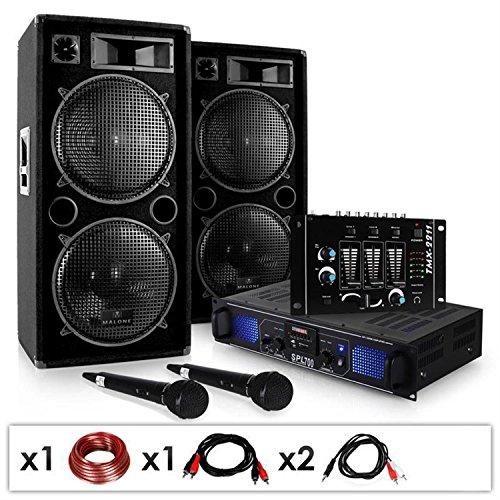 Set DJ 'DJ-20.1' Amplificatore finale di potenza, Coppia di casse, mixer, microfono, karaoke (2000 Watt max, 3 linee AUX, USB ed SD, Radio FM)