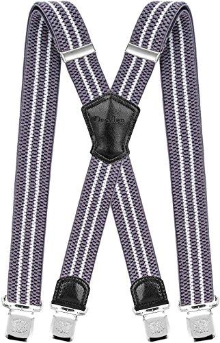 Decalen Tirantes para caballero con clips extra fuerte amplio 40 mm Adjustable Elastics X forma (Blanco Plateado)