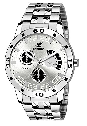 Espoir Analog Silver Dial Men's Watch-ES109