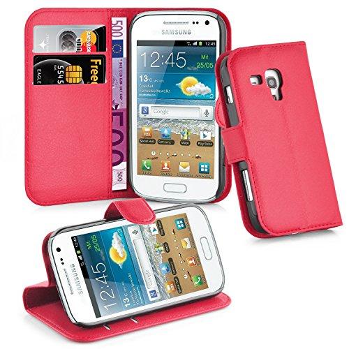 Cadorabo Custodia Libro per Samsung Galaxy Trend Plus in Rosso Carminio - con Vani di Carte, Funzione Stand e Chiusura Magnetica - Portafoglio Cover Case Wallet Book Etui Protezione