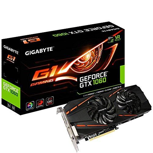 Gigabyte GeForce GTX 1060 G1 Gaming 6G (Rev. 2.0) GeForce GTX 1060 6GB GDDR5 - Tarjeta gráfica (NVIDIA, GeForce GTX 1060, 7680 x 4320 Pixeles, 1594 MHz, 1809 MHz, 7680 x 4320 Pixeles)