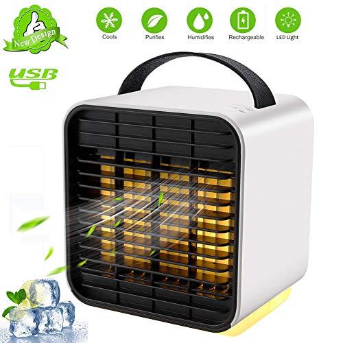 TTMOW Mini Raffreddatore d'Aria USB Condizionatori Portatili Personale Air Cooler 3 IN1 Evaporativo Umidificatore Purificatore con 3 velocità per Casa, Ufficio