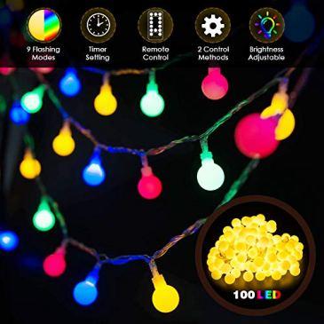 Guirlande Lumineuse Multicolore 10M 100 LED JOLVVN Guirlande Guinguette 9 Modes Eclairage Télécommande Blanc Chaud Allonger Décoration Extérieure Intérieure Noël Fête Terrasse Balcon