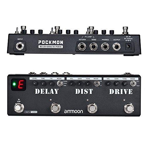 ammoon Pedale Multi-effetti Pedale per Chitarra POCKMON con Tuner Ritardo Distorsione Overdrive FX...