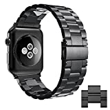 Simpeak Stainless Steel Band Strap compatible for Apple Watch 42mm Series 1 Series 2 Series 3 Series 4 (44mm), Black