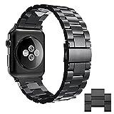 Simpeak compatible per Cinturino Apple Watch 42mm/44mm Series 1/2/3/4 Versione 2015 2016 2017 2018 in Acciaio Inossidabile, Nero