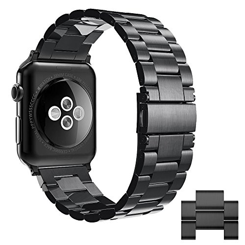 Simpeak compatible per Cinturino Apple Watch 42mm/44mm Series 1/2/3/4/5 Versione 2015 2016 2017 2018 2019 in Acciaio Inossidabile, Nero