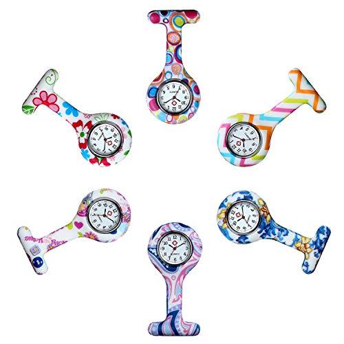Avaner 6Pcs Orologio da infermiere in Silicone con Spilla, Quadrante Rotondo Morbile, Multi Colori,...