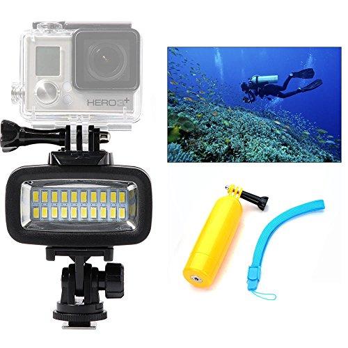 Orsda Illuminazione subacquea impermeabile Diving luce ad alta potenza LED video fill luce notturna luce immersione 40m (131ft) 20leds 700lm filtro Asta di galleggiamento per GoPro SJCAM Yi