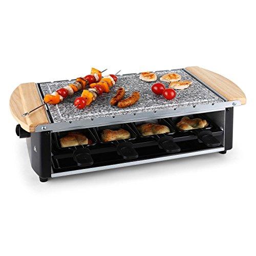 Klarstein Chateaubriand Raclette-Grill - Tischgrill, Partygrill, 1200 W, Natursteinplatte, fettarmes Grillen, inkl. 8 Pfannen und Grillspieße, schwarz-silber