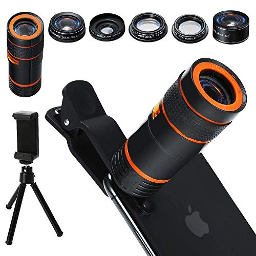 Distianert 6 in 1 Universal 12x Zoom Telephoto, 0.62x Wide Angle and 20x Macro, 235 Degree Fisheye, Starburst, CPL, Tripod for iPhone X/8/7/6/6S Plus Samsung Android Cell Phone Camera Lens Kit