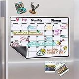 Homein Calendario mensual magnético, Lavable, para la Nevera, planificador mensual, Pizarra, Pizarra magnética, Lista de la Compra en la Cocina, Pizarra para niños, 43 x 30 cm