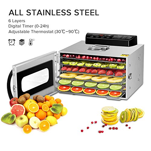 GCSJ 6 Piani Essiccatore Frutta e Verdura in Metallo, 30-90°C Temperatura Regolabile, 24 ore Timer,...