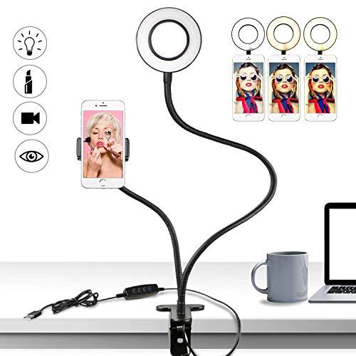 Buluri Anello Luminoso Selfie, Lampada Selfie con Supporto per Cellulare, 3 Modalità LED Ring Light...