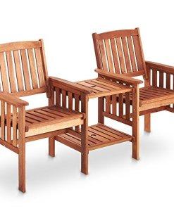 vonhaus garden love seat bench 2 seater hardwood outdoor patio