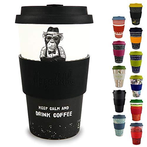 Morgenheld  il tuo bicchiere di bambù alla moda | Coffee-to-Go bicchiere ecologico | bicchiere ecosostenibile con coperchio in silicone e fascetta dal design futuristico da 400 ml