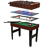 Charles Bentley - Mesa multijuegos 4 en 1 - Billar, hockey de mesa, futbolín y ping-pong