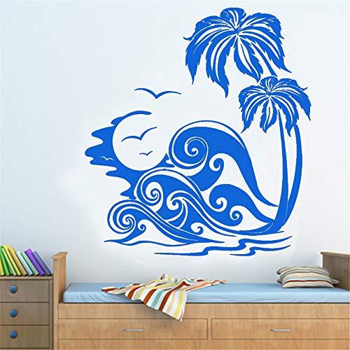 yiyiyaya Mare Onde e Palme Beach Wall Sticker Smontabile Home Decor Wall Art Murales Soggiorno...