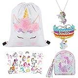 7 PCs Unicorn Gifts Drawstring Bag Coin Purse Tattoos Unicorn Rainbow Bracelet Necklace Jewelry Gift Set Unicorn Birthday Party Favors Gifts for Girls Kids (C-White)
