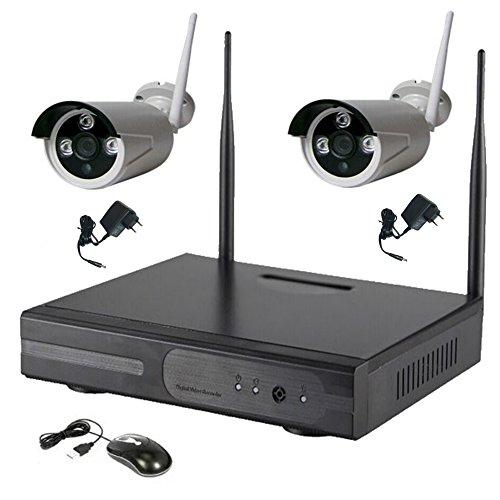 ITALIAN ALARM Kit Videosorveglianza 2 Telecamere Wireless senza fili WIFI, NVR per 4 telecamere, APP Android/IOS. Portata 50 metri senza ostacoli, telefonare se dubbi distanza prima dell'acquisto