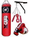 MADX - Juego de boxeo con saco de piel (1,2m), guantes, soporte de pared y diversos accesorios