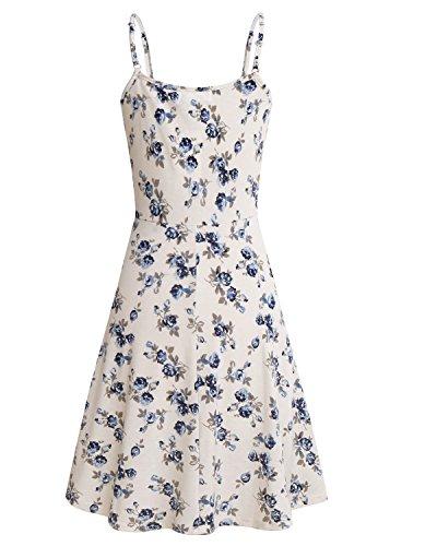 SOLERSUN Womens Sleeveless Summer Dress Floral Printed Adjustable Spaghetti  Strap Dresses 84d4f53bb