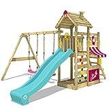 WICKEY Spielturm CherryFlyer Garten Kletterturm mit Doppelschaukel, Rutsche, Sandkasten und viel Zubehör
