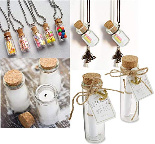 DIY Crafts 20 Pcs 20ml Cork Stoppers Glass Bottles, DIY Decoration Mini Glass Bottles Favors, Mini Vials Cork, Message Glass Bottle Vial Cork, Small Glass Bottles Jars Corks for Wedding Party Favors 12