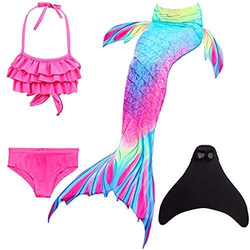 shepretty Mädchen Meerjungfrauenschwanz Bikini Set Zum Schwimmen mit Meerjungfrau Flosse Badeanzüge Prinzessin Cosplay Kostüm,DH52,140