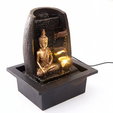 Bibiana Buda Dorado con Tazas de Agua y Fuente de Agua de Interior con luz LED, 21 cm x 18 cm x 25 cm 5