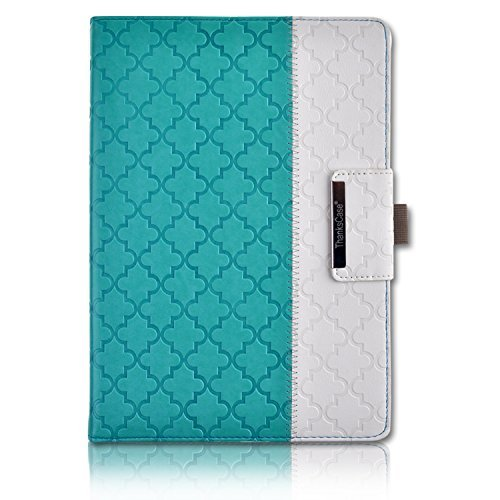 iPad Pro 10.5 Case,Thankscase Rotating Case Smart Cover with Beautiful Quatrefoil Lattice Embossed Pattern with Wallet Pocket and Hand Strap for New iPad Pro 10.5 Inch 2017 Release (Mint Quatrefoil)