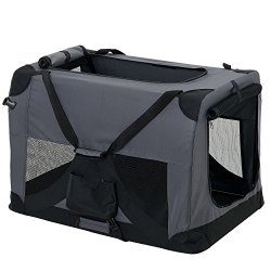 hundeinfo24.de [pro.tec] Hundetransportbox (grau – faltbar) Gr. L