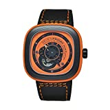 Seven Friday P1-3 Automatic Ion Plated Stainless Steel Case Black Leather Mineral Men's & Women's Watch