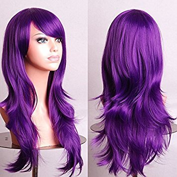 Womens Ladies 70cm Purple Color Long CURLY Cosplay Costume Anime Party. ffb386b22